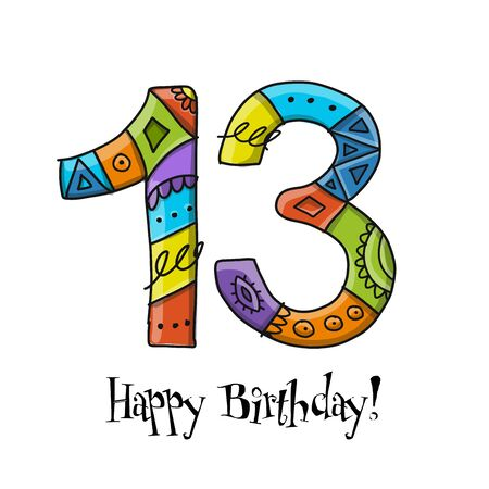 13th anniversary celebration. Greeting card template