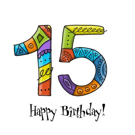 15th anniversary celebration. Greeting card template