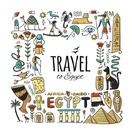 Travel to Egypt. Greeting card for your design Illustration