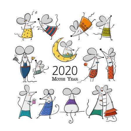 Ratones divertidos, símbolo del año 2020. Banner para su diseño Ilustración de vector