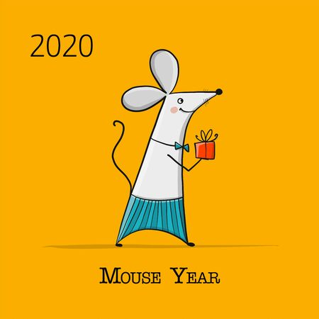 Funny mouse, symbol of 2020 year. Banner for your design Stock Illustratie