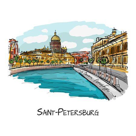 Saint-Pétersbourg, Russie. Esquisse pour votre conception