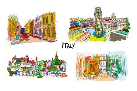 Collezione strade Italia. Schizzo per il tuo design. Illustrazione vettoriale