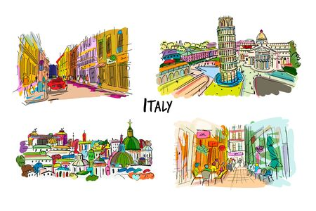 Italy streets collection. Sketch for your design. Vector illustration