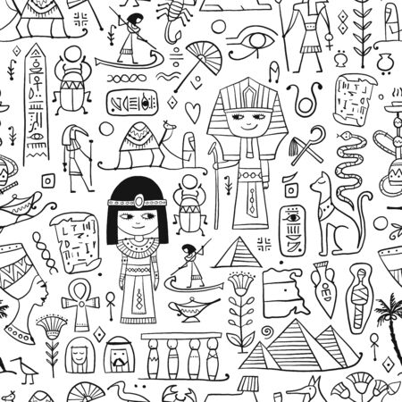 Reise nach Ägypten. Nahtloses Muster für Ihr Design