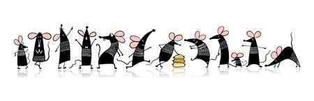 Familia divertida del ratón, símbolo del año 2020. Banner para su diseño
