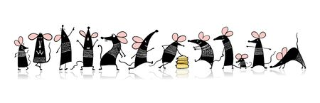 Funny mouse family, symbol of 2020 year. Banner for your design Çizim