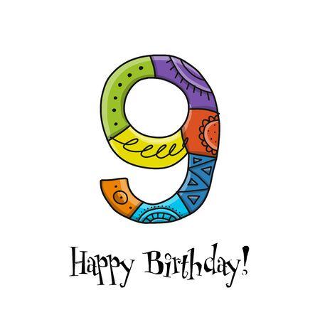 9th anniversary celebration. Greeting card template Ilustração