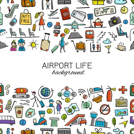 Airport background, seamless pattern for your design