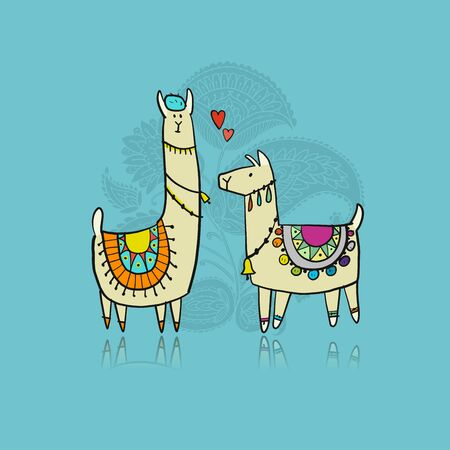 Cute lamas on love. Greeting card for your design. Vector illustration