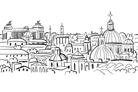 Cityscape background, seamless pattern for your design. Vector illustration