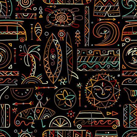 Surfen nahtlose Muster. Stammeselemente für Ihr Design. Vektor-Illustration Vektorgrafik