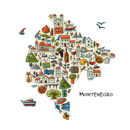 Travel map Montenegro for your design. Vector illustration