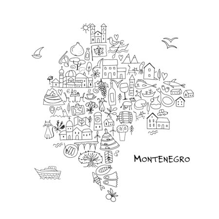 Travel map Montenegro, coloring page for your design. Vector illustration Иллюстрация