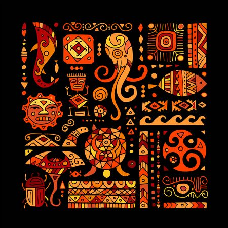 Ethnic handmade ornament for your design. Polynesian style  イラスト・ベクター素材