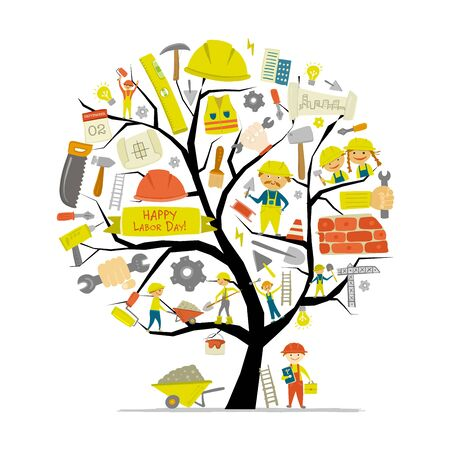 Builders day. Greeting card with concept tree for your design Stock Illustratie