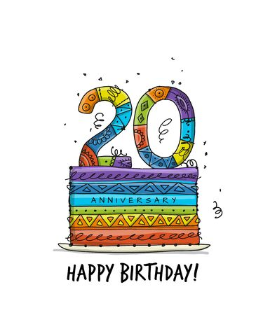 20th anniversary celebration. Greeting card template