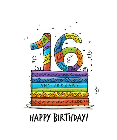 16th anniversary celebration. Greeting card template Illustration