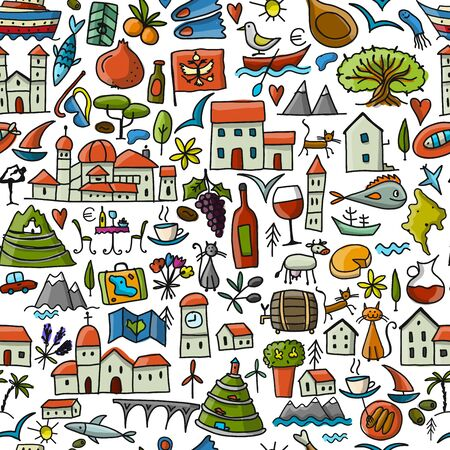 Travel to Montenegro, seamless pattern for your design