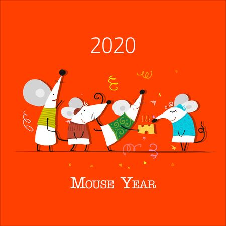 Funny mouses party, symbol of 2020 year. Banner for your design Foto de archivo - 129086319