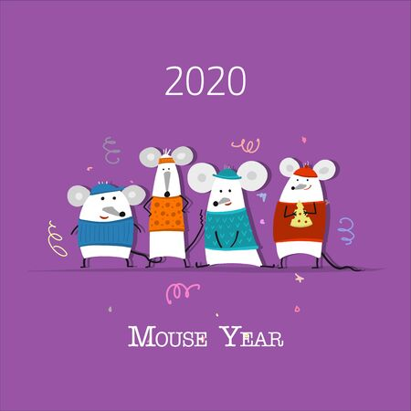 Funny mouse, symbol of 2020 year. Banner for your design 일러스트