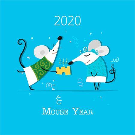 Ratón divertido, símbolo del año 2020. Banner para su diseño Ilustración de vector