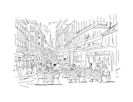 Old european street, sketch for your design Иллюстрация