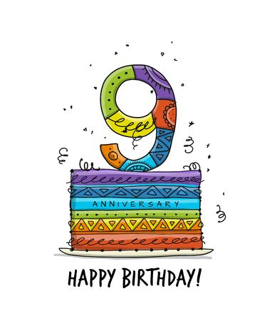 9th anniversary celebration. Greeting card template Illustration