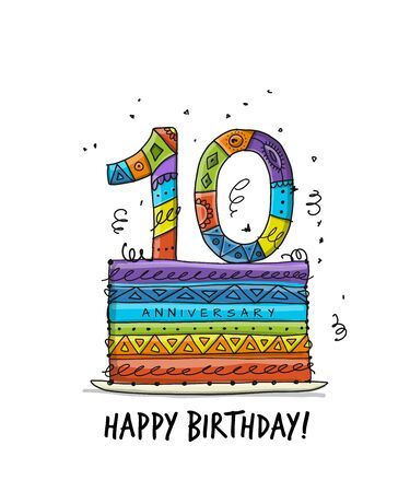 10th anniversary celebration. Greeting card template