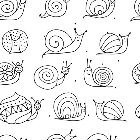 Funny snails, seamless pattern for your design