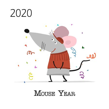 Funny mouse, symbol of 2020 year. Banner for your design Ilustracja