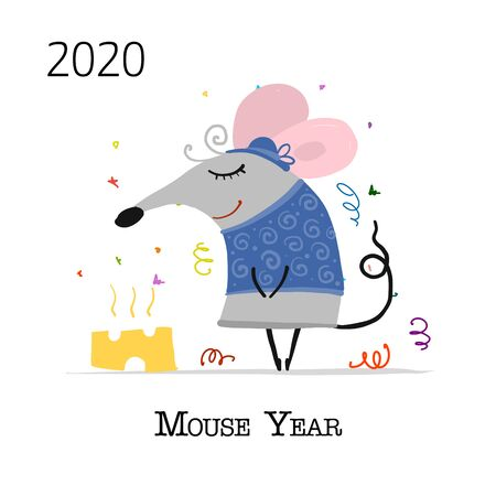 Funny mouse, symbol of 2020 year. Banner for your design Foto de archivo - 129086639