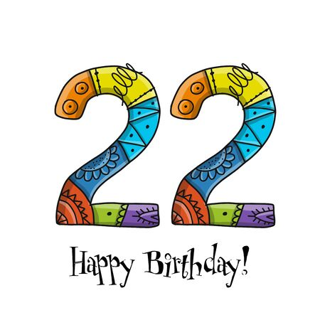 22th anniversary celebration. Greeting card template