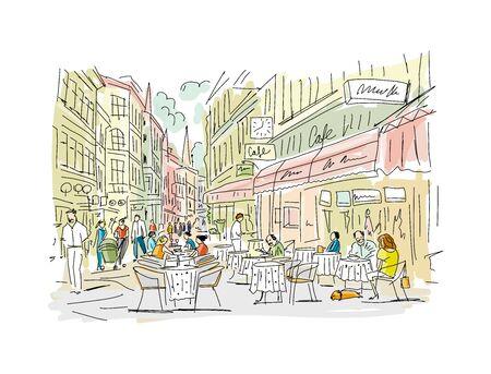 Old european street, sketch for your design. Vector illustration Иллюстрация