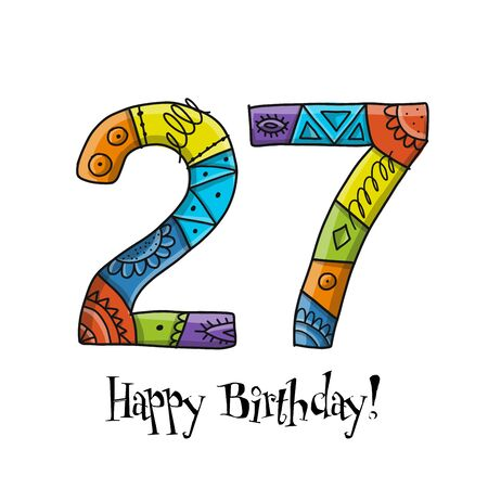 27th anniversary celebration. Greeting card template