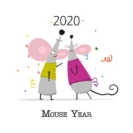 Funny mouse, symbol of 2020 year. Banner for your design Illustration