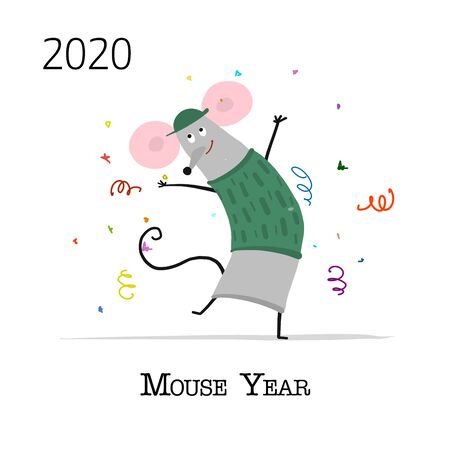 Funny mouse, symbol of 2020 year. Banner for your design Stock Vector - 129086837