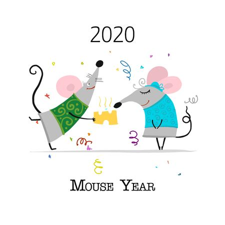 Funny mouse, symbol of 2020 year. Banner for your design Stock Vector - 129086847