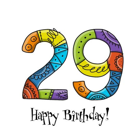 29th anniversary celebration. Greeting card template Illustration