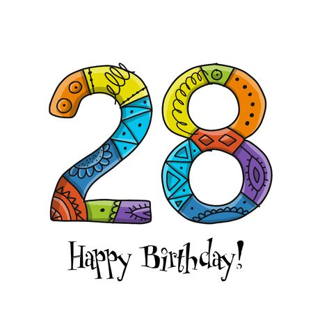 28th anniversary celebration. Greeting card template