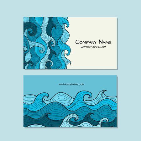 Business cards design. Sea waves background. Vector illustration