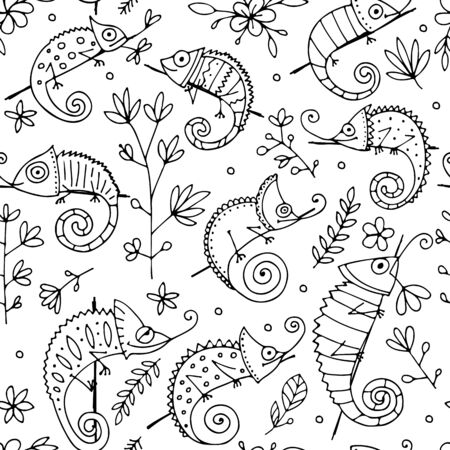 Chameleon collection, seamless pattern for your design. Vector illustration