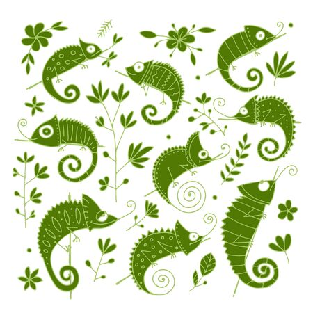 Chameleon collection, sketch for your design Stock Illustratie