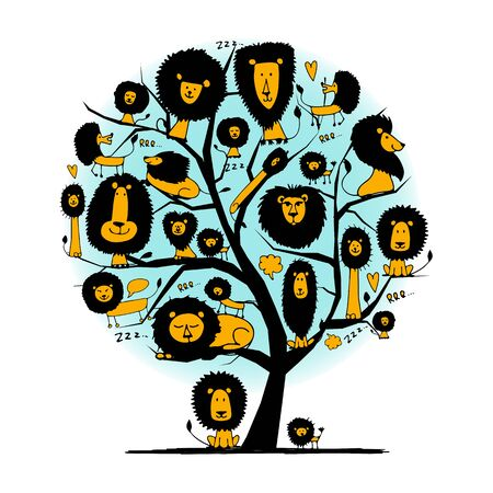 Funny lions on tree, sketch for your design. Vector illustration