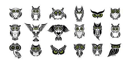 Cute owls collection, black silhouette for your design Standard-Bild - 129087203