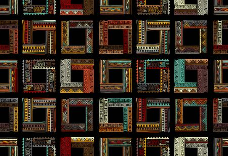 Abstract ethnic frames, seamless pattern for your design Banque d'images - 129087202