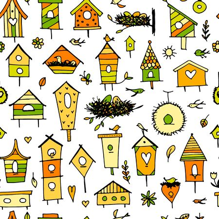 Birdhouses, seamless pattern for your design. Vector illustration Иллюстрация