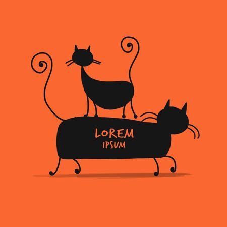 Couple cats, sketch for your design Фото со стока - 129088031