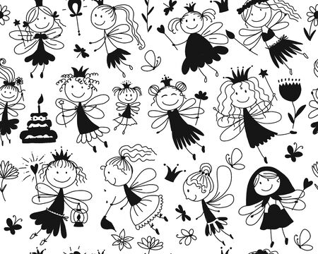 Cute little fairies collection, sketch for your design. Vector illustration Иллюстрация