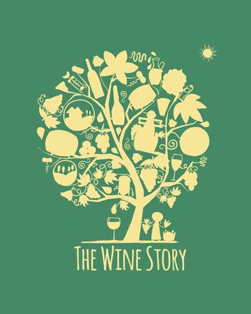 Winery concept, art tree for your design